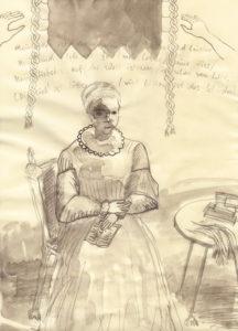 Sibylla am Tisch, 2020, Graphit, Tusche auf Papier, 30,5 cm x 21,3 cm