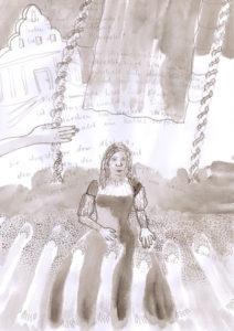 Sibylla mit Seilen, Tuch und Hand, 2020, Tusche, Graphit auf Papier, 29,7 cm x 20,9 cm