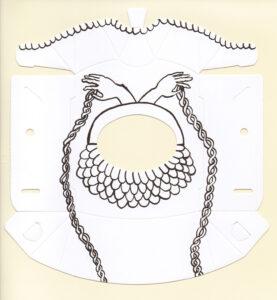 Hände, Seile fallend, C-Maske, 2020, Tusche auf Papier, 17 cm x 16,5 cm