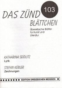 DAS ZÜNDBLÄTTCHEN, Überelbische Blätter für Kunst und LiteraturNr. 103 Cover